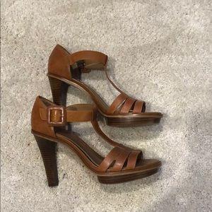 Dark camel heeled t-strap sandals